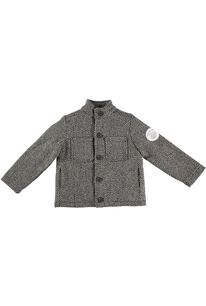 Tocoto Vintage Herringbone Pattern Coat with Tiger Patch & Sheepskin Lining Dark Grey (Jas)