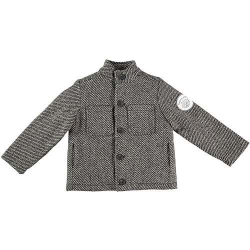 Tocoto Vintage Herringbone Pattern Coat with Tiger Patch & Sheepskin Lining Dark Grey (Jas)-1