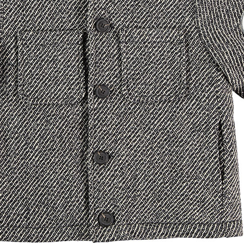 Tocoto Vintage Herringbone Pattern Coat with Tiger Patch & Sheepskin Lining Dark Grey (Jas)-5