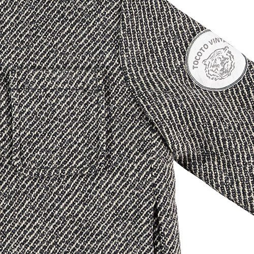 Tocoto Vintage Herringbone Pattern Coat with Tiger Patch & Sheepskin Lining Dark Grey (Jas)-6