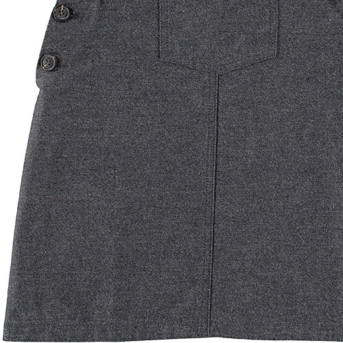 Tocoto Vintage Girl Twill Pinafore with Front Pockets Dark Grey (Jurk)-4