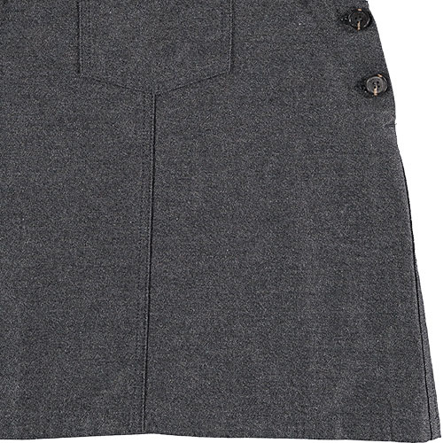 Tocoto Vintage Girl Twill Pinafore with Front Pockets Dark Grey (Jurk)-5