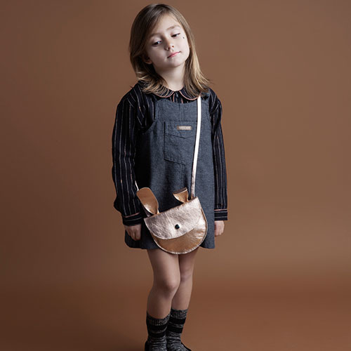 Tocoto Vintage Girl Twill Pinafore with Front Pockets Dark Grey (Jurk)-2