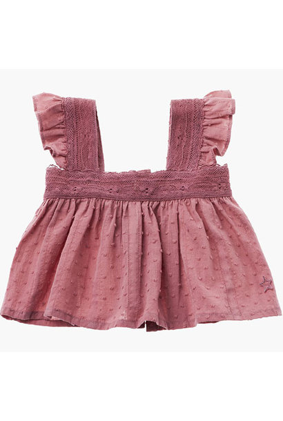 Tocoto Vintage Lace Plumeti Baby Top Pink (Blouse)