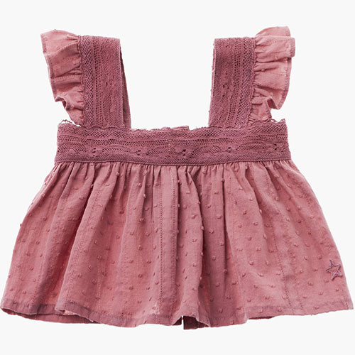 Tocoto Vintage Lace Plumeti Baby Top Pink (Blouse)-1