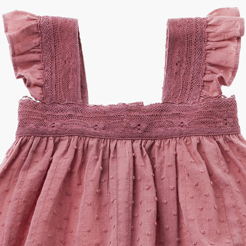 Tocoto Vintage Lace Plumeti Baby Top Pink (Blouse)-3