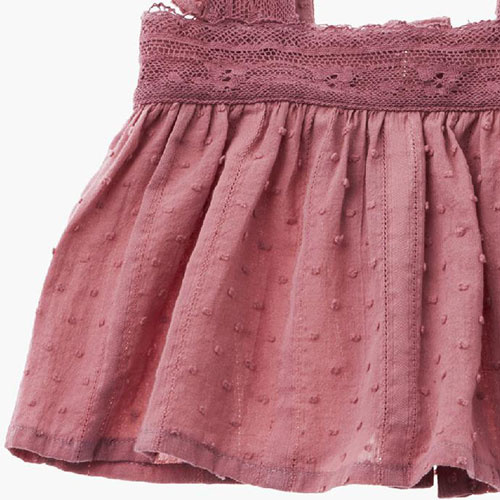 Tocoto Vintage Lace Plumeti Baby Top Pink (Blouse)-4