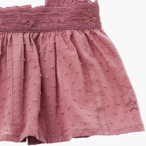 Tocoto Vintage Lace Plumeti Baby Top Pink (Blouse)-5
