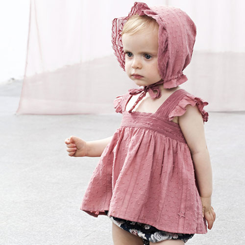 Tocoto Vintage Lace Plumeti Baby Top Pink (Blouse)-6