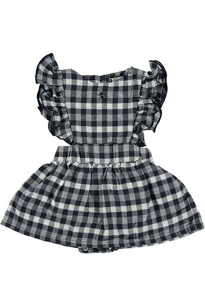 Tocoto Vintage Vichy Squares Sleeveless Body Dress Navy (Jurk)