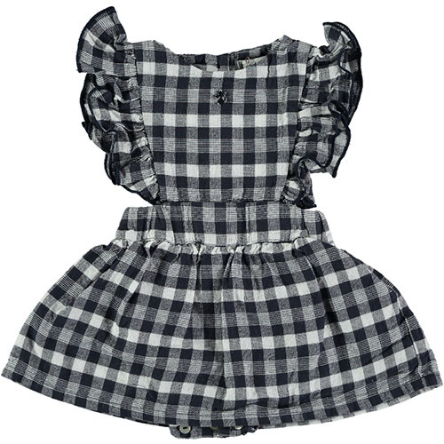 Tocoto Vintage Vichy Squares Sleeveless Body Dress Navy (Jurk)-1
