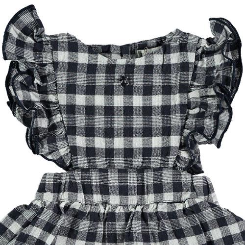 Tocoto Vintage Vichy Squares Sleeveless Body Dress Navy (Jurk)-2