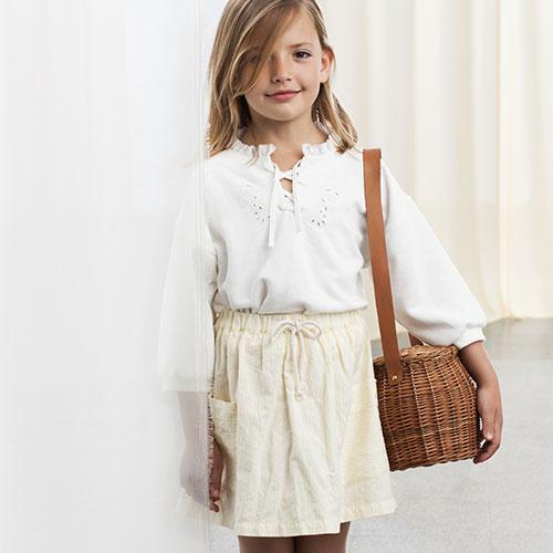 Tocoto Vintage Two Pockets Striped Mini Skirt (Rok)-1