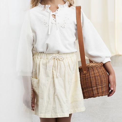 Tocoto Vintage Two Pockets Striped Mini Skirt (Rok)-2