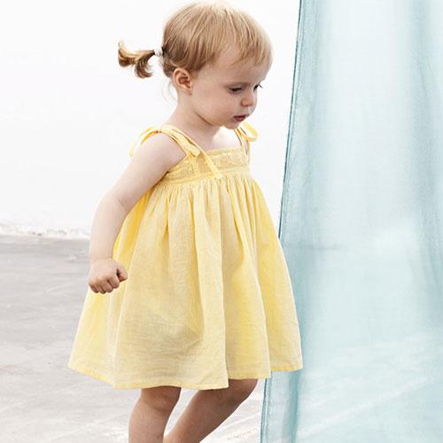Tocoto Vintage Bambula Dress Yellow (Jurk)-1