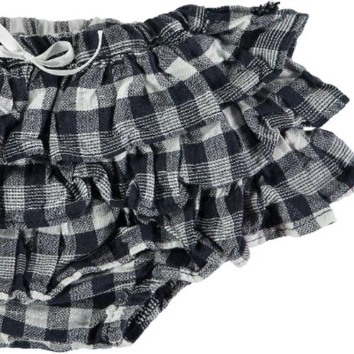 Tocoto Vintage Vichy Squares Ruffles Culotte Navy (Bloomer)-4