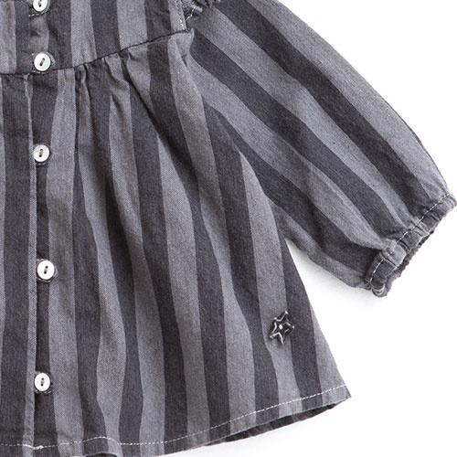Tocoto Vintage Striped Denim Baby Shirt (Blouse)-4