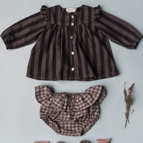 Tocoto Vintage Striped Denim Baby Shirt (Blouse)-2