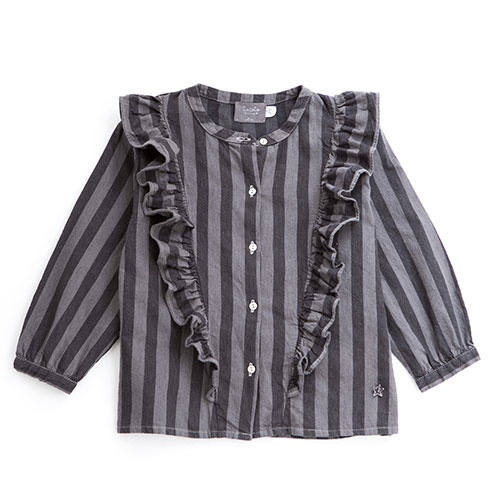 Tocoto Vintage Striped Denim Shirt (Blouse)-1