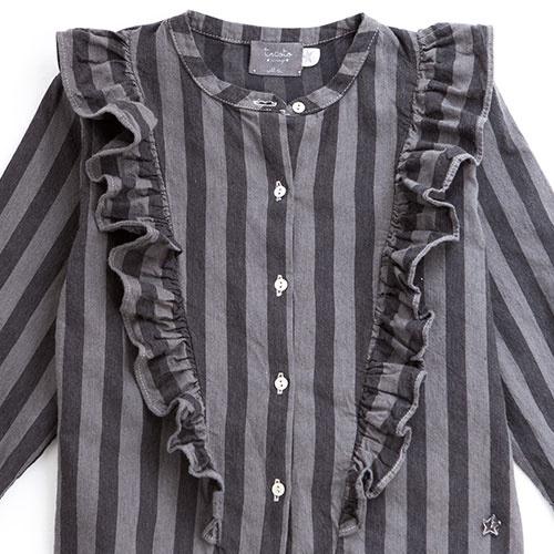 Tocoto Vintage Striped Denim Shirt (Blouse)-3