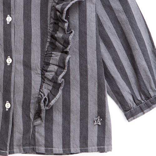 Tocoto Vintage Striped Denim Shirt (Blouse)-4