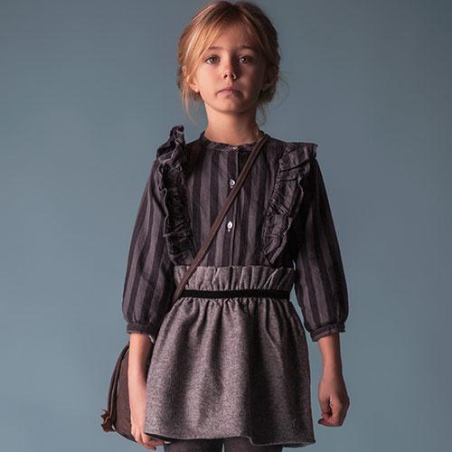 Tocoto Vintage Striped Denim Shirt (Blouse)-2