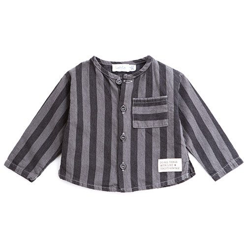 Tocoto Vintage Striped Denim Baby Shirt (Blouse)-1