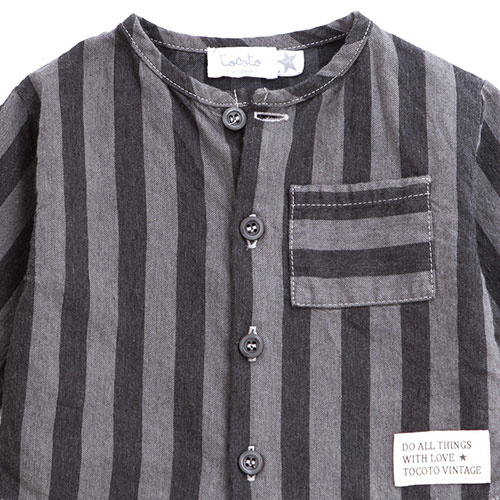Tocoto Vintage Striped Denim Baby Shirt (Blouse)-2