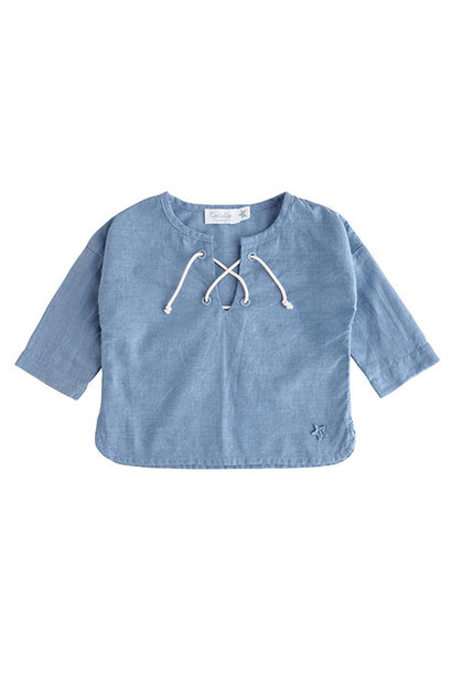 Tocoto Vintage Chambray Cord Longsleeve Blue (Shirt)