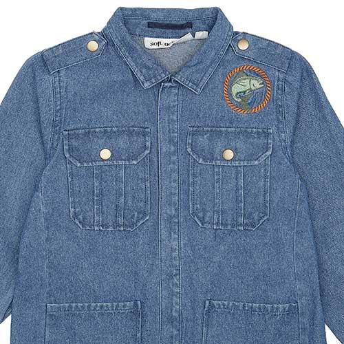 Soft Gallery Aspen Jacket Denim Blue Fishclub Emb (Jas)-3