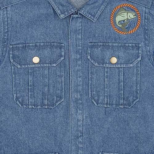 Soft Gallery Aspen Jacket Denim Blue Fishclub Emb (Blouse)-7