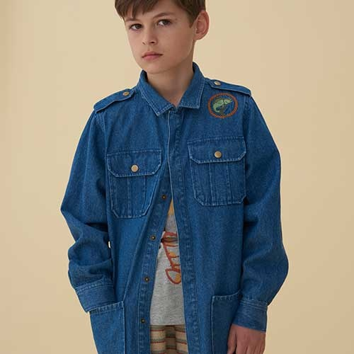 Soft Gallery Aspen Jacket Denim Blue Fishclub Emb (Blouse)-8
