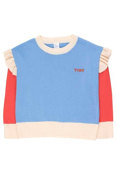 """Tinycottons """"Tiny"""" Frills Crop Sweater cerulean blue/red (Trui)"""