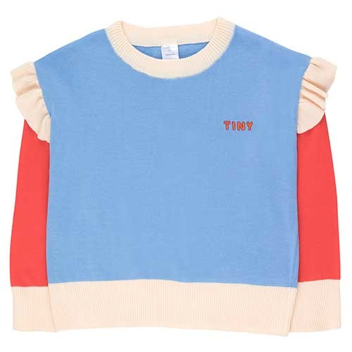 "Tinycottons ""Tiny"" Frills Crop Sweater cerulean blue/red (Trui)-1"