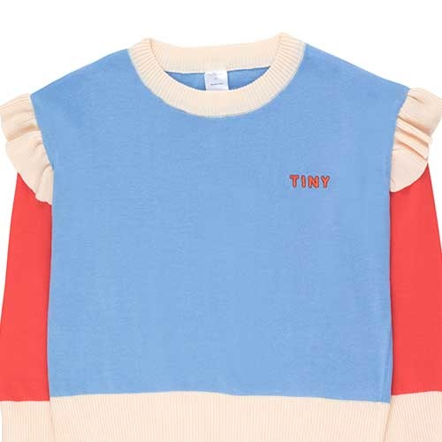 "Tinycottons ""Tiny"" Frills Crop Sweater cerulean blue/red (Trui)-3"