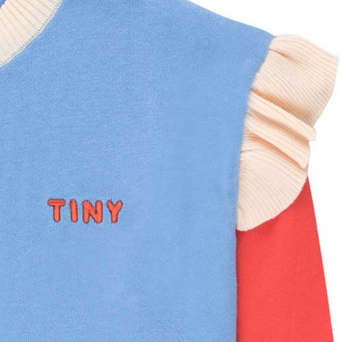 "Tinycottons ""Tiny"" Frills Crop Sweater cerulean blue/red (Trui)-5"