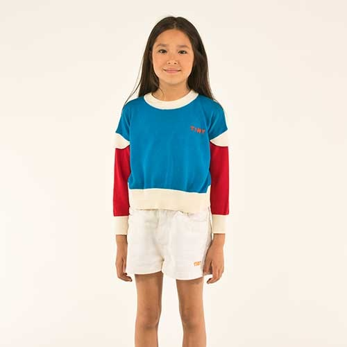 "Tinycottons ""Tiny"" Frills Crop Sweater cerulean blue/red (Trui)-7"