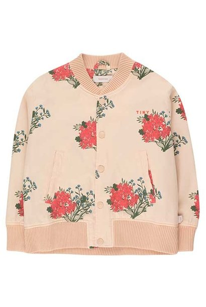 Tinycottons Flowers Light Bomber Jacket cappuccino/red (Jas)