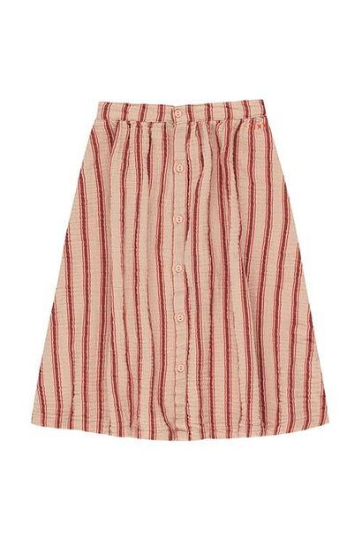 Tinycottons Retro Stripes Midi Skirt light nude/dark brown (Rok)