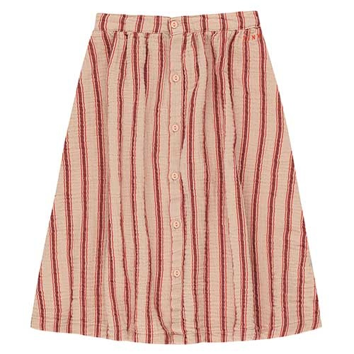 "Tinycottons ""Retro Stripes"" Midi Skirt light nude/dark brown (Rok)-1"