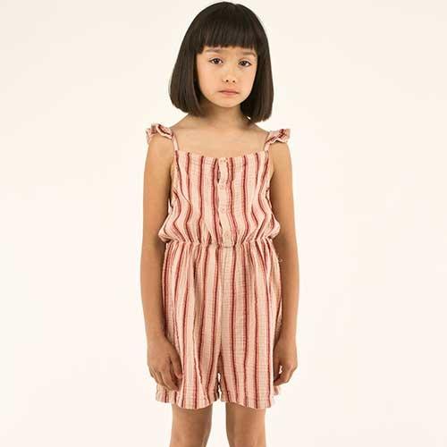 "Tinycottons ""Retro Stripes"" Salopette light nude/dark brown (Jumpsuit)-2"