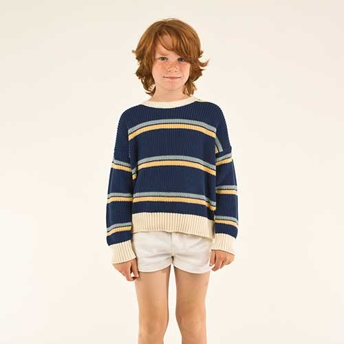 Tinycottons Stripes Sweater light navy/yellow/sea green (Trui)-2