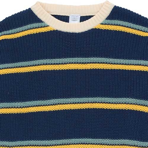 Tinycottons Stripes Sweater light navy/yellow/sea green (Trui)-3