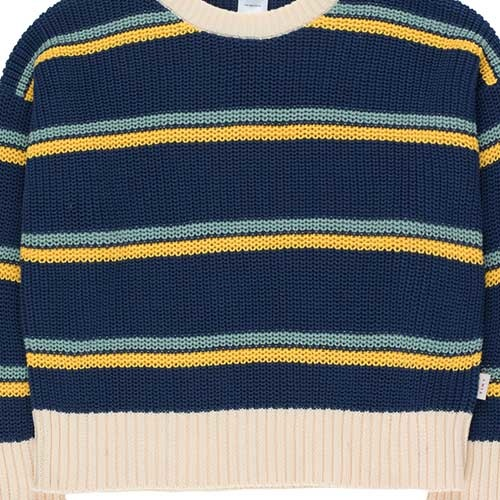 Tinycottons Stripes Sweater light navy/yellow/sea green (Trui)-4