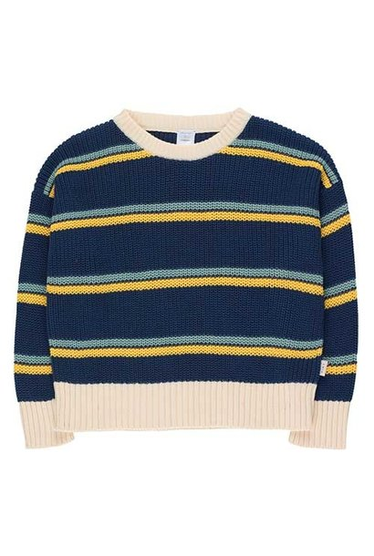 Tinycottons Stripes Sweater light navy/yellow/sea green (Trui)