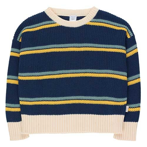 Tinycottons Stripes Sweater light navy/yellow/sea green (Trui)-1