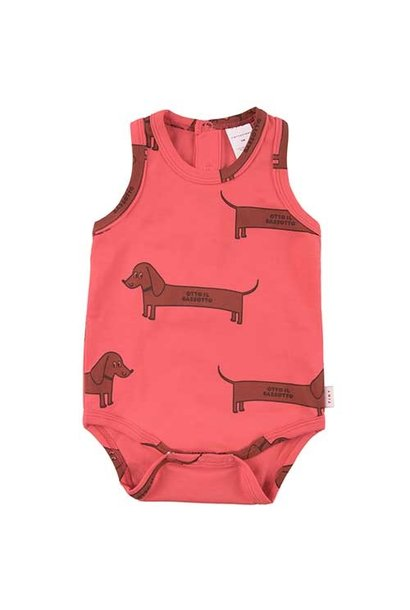 """Tinycottons """"Il Bassotto"""" Body light red/dark (Romper)"""