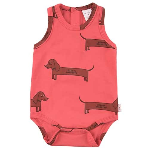 """Tinycottons """"Il Bassotto"""" Body light red/dark (Romper)-1"""
