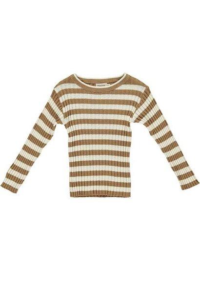 MarMar Copenhagen Toro Linen Mix Knitwear Caramel Stripe (Trui)