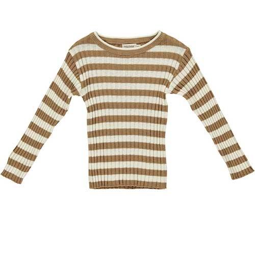 MarMar Copenhagen Toro Linen Mix Knitwear Caramel Stripe (Trui)-1